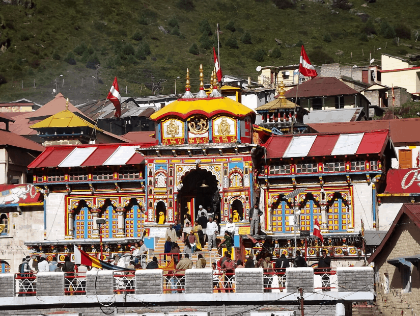 Badrinath temple, on the Char Dham pilgrimage to Badrinath in Uttarakhand