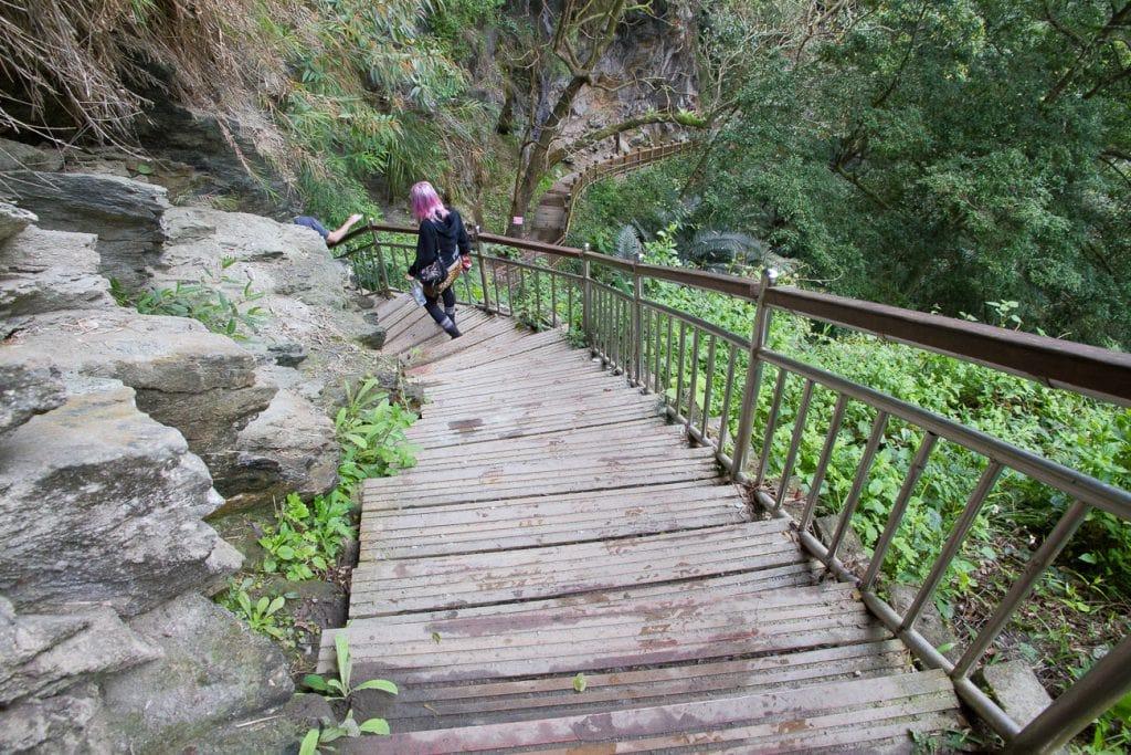 Going down the stairs to Wenshan Hot Spring, Taroko Gorge, Hualien, Taiwan