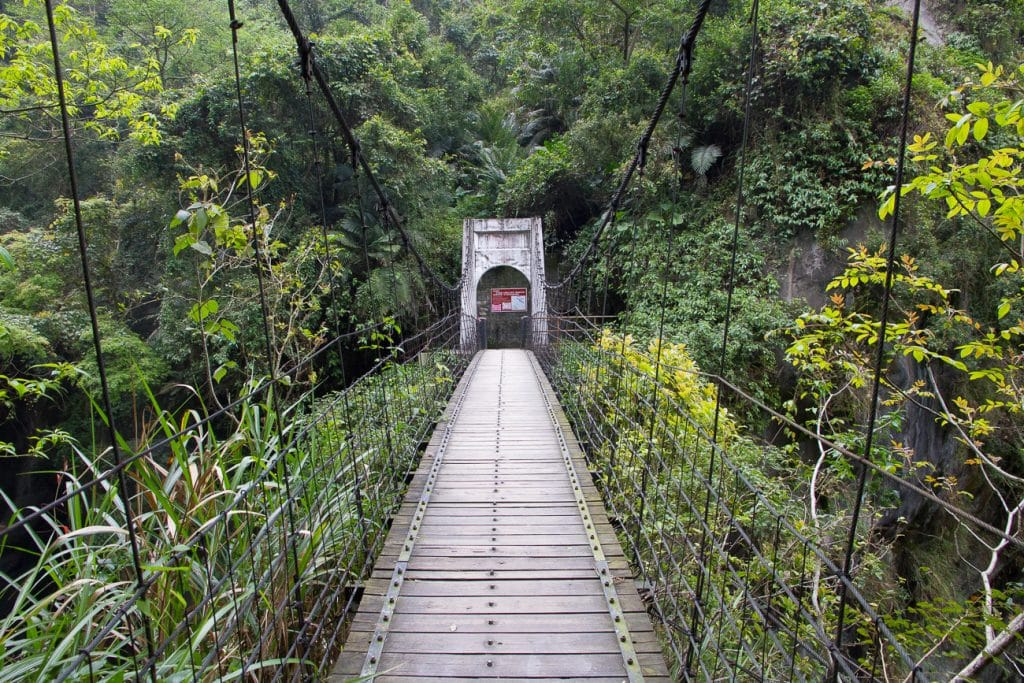 Suspension bridge just before Wenshan Hot Spring