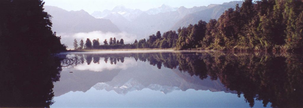 Mount Cook, New Zealand's highest peak, reflected in the waters of Lake Matheson