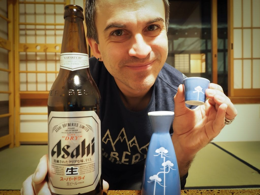 Beer and sake in a temple stay, Koyasan