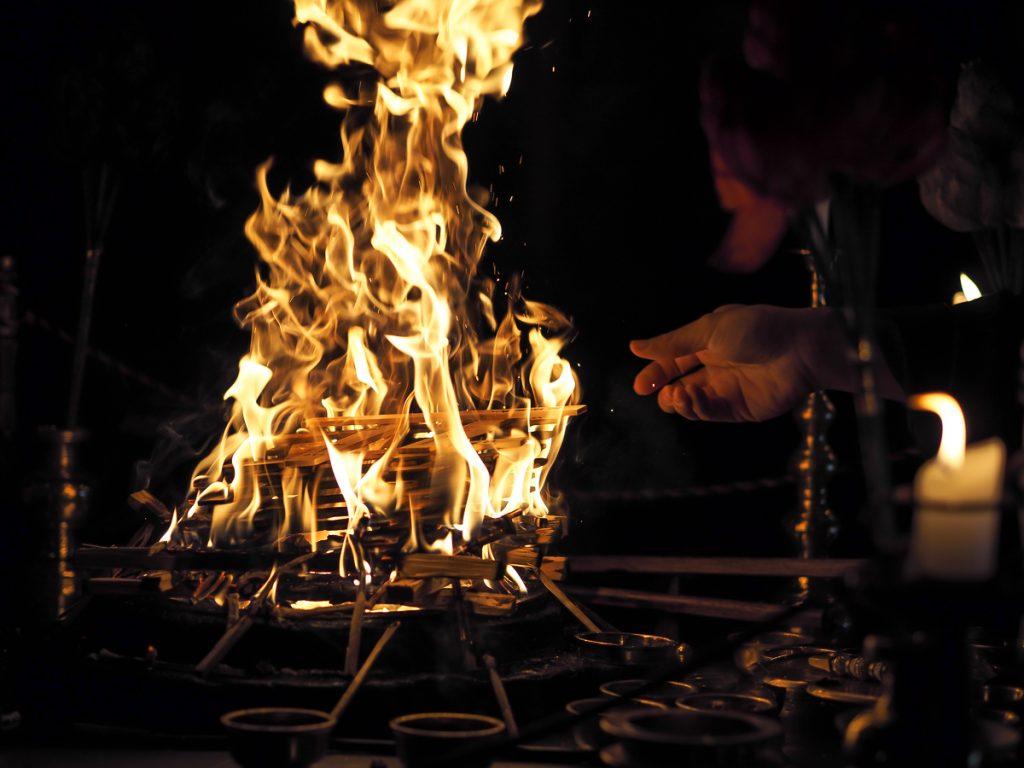 Fire ceremony at Ekoin Koyasan