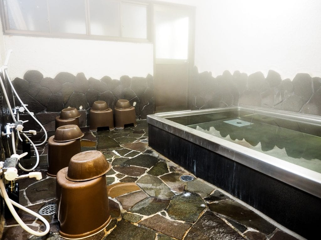 Hot private onsen at Hoon In, Koyasan