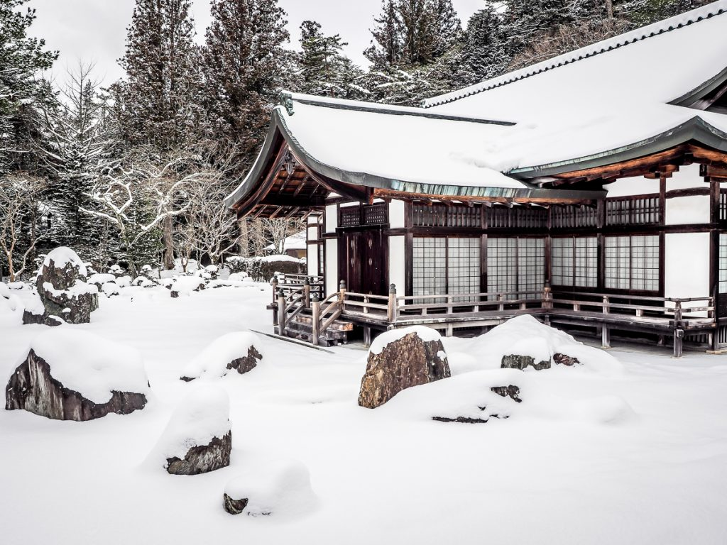 Japan's largest rock garden at Kongobuji, Koyasan in winter