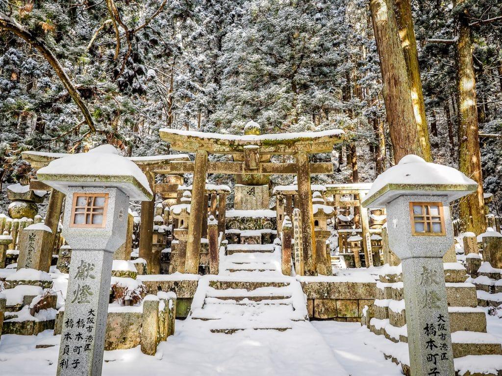 Okunoin cemetery Koyasan in winter