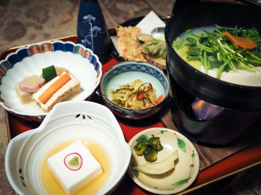 Shojin ryori vegtarian meal served at Eko In, Koyasan