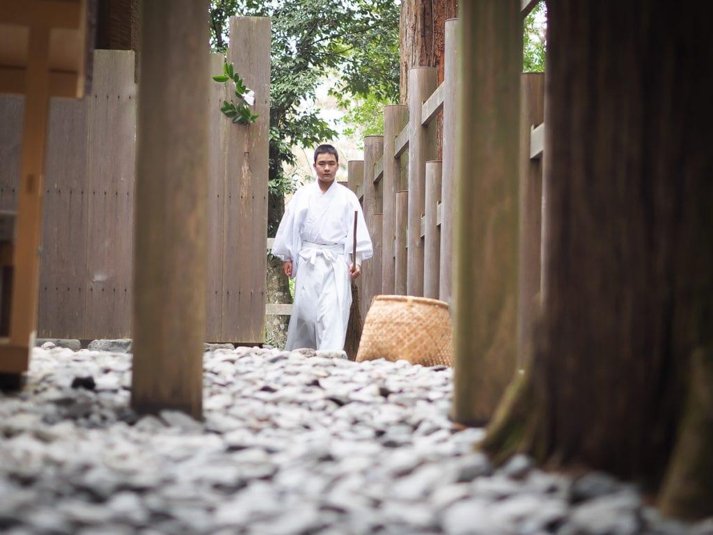Temple attendant at Geku, Ise Grand Shrine