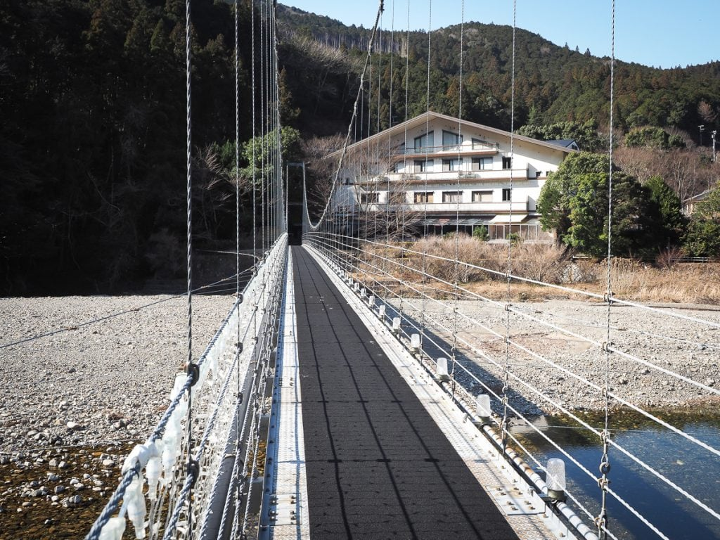 Suspension bridge to Watarase Onsen
