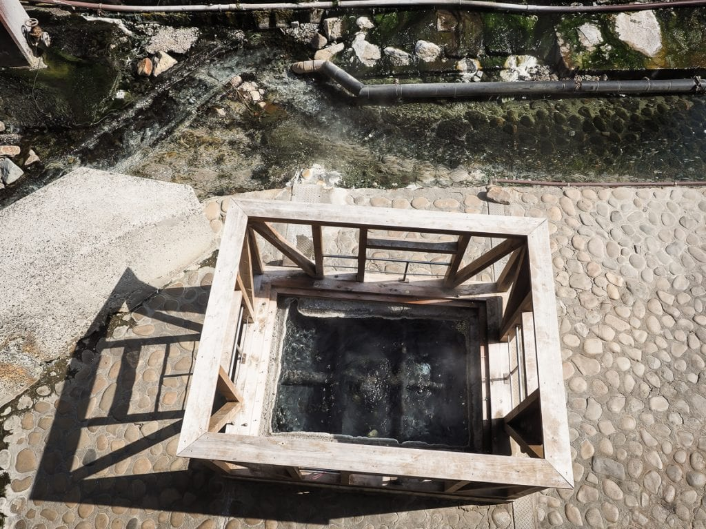 Boiling hot spring eggs at Yunomine onsen, Wakayama