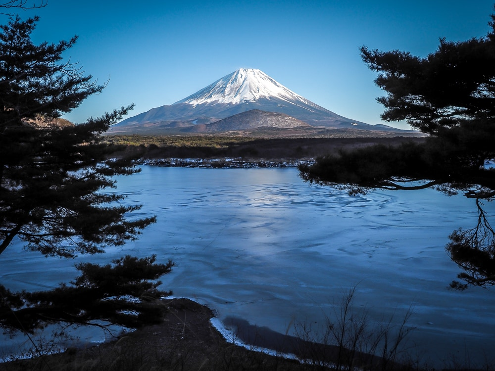 View of Mt. Fuji from road around Lake Shoji