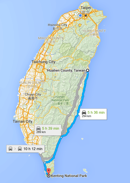 Map of Taiwan Hualian to Kenting