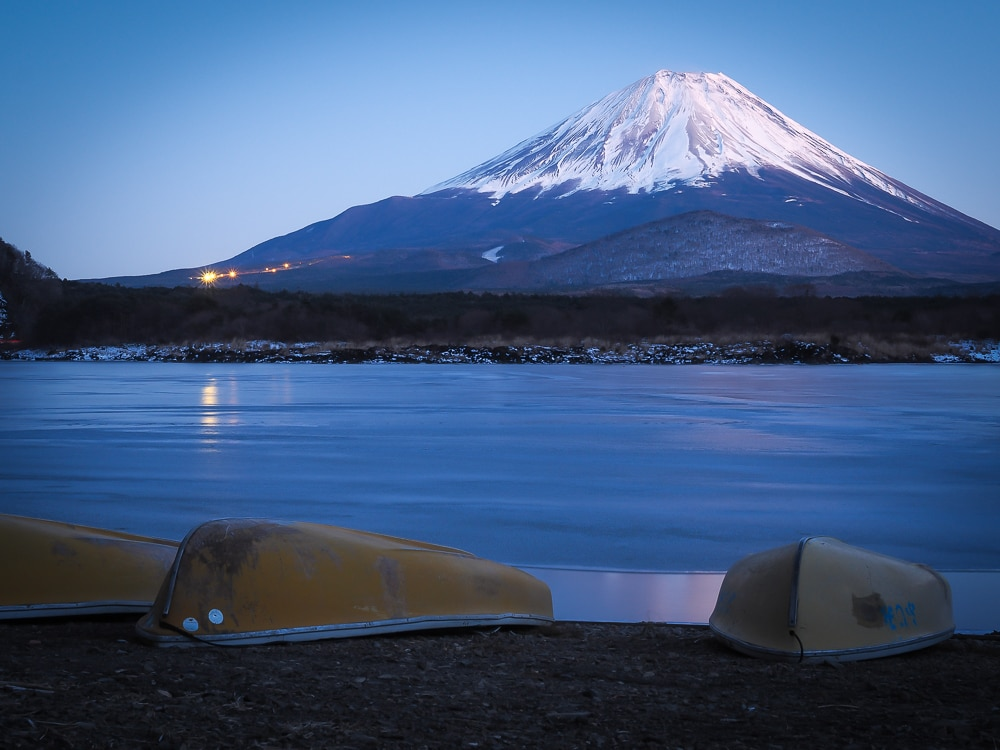 Mt. Fuji from Lake Shoji at night