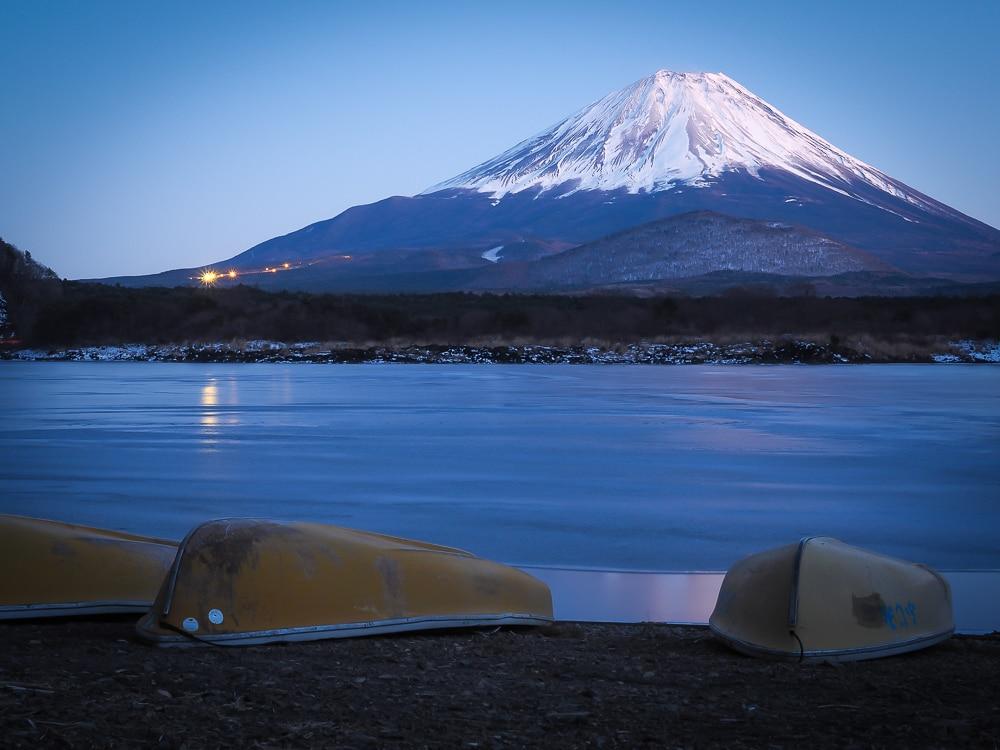 Mt. Fuji and Lake Shoji at night