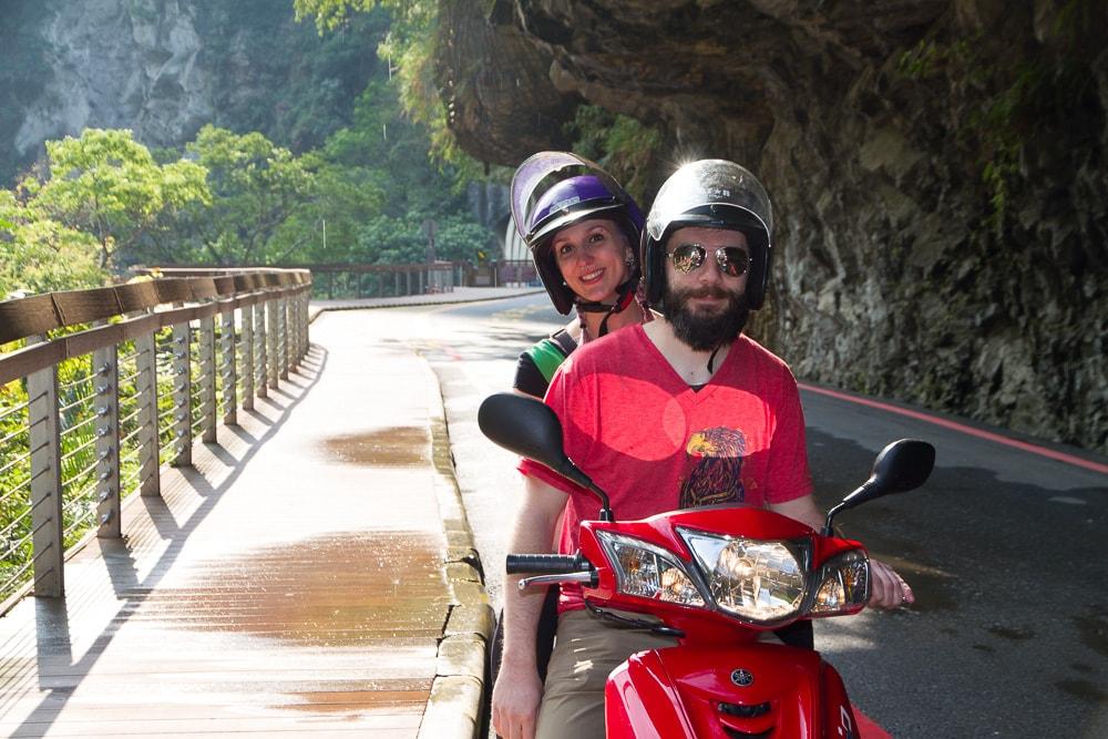Riding a scooter in Taroko Gorge, Taiwan