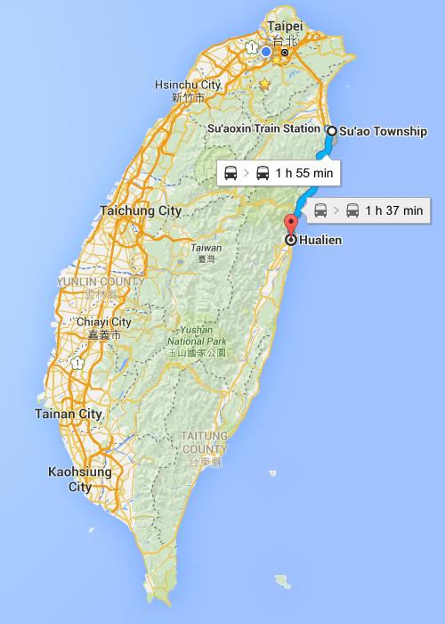 Map of Taiwan Yilan to Hualian