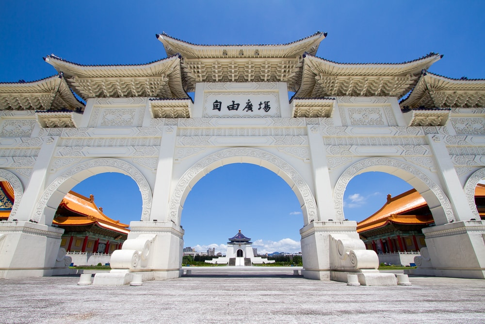 Chiang Kai Shek Memorial Hall; some of the best things to do in Taipei in August should be done in the early morning to escape the heat