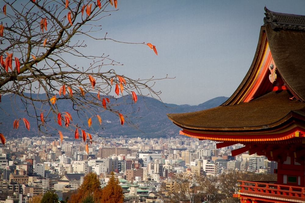 Kyoto in autumn, viewed from Nio-mon Gate, Kiyomizu dera