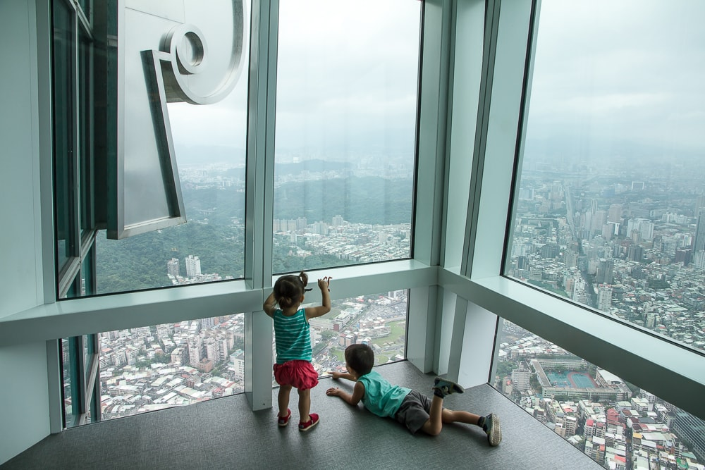 Taipei 101 obsevatory in Taipei with kids, one the most famous Taiwan tourist attractions