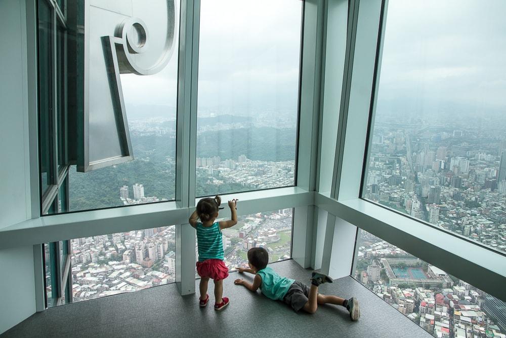 Taipei 101 obsevatory in Taipei with kids