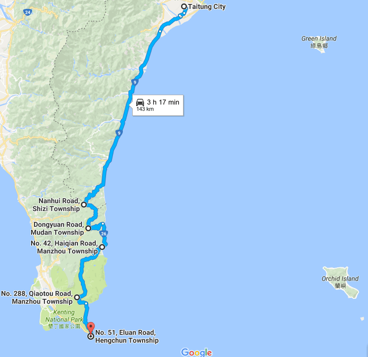 How to get from Taitung to Kenting
