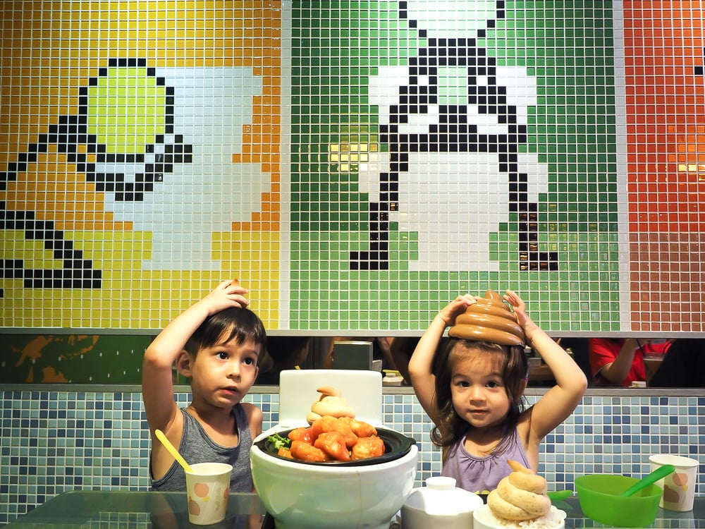 Modern Toilet, the poo poo themed restaurant in Ximen, Taipei with kids