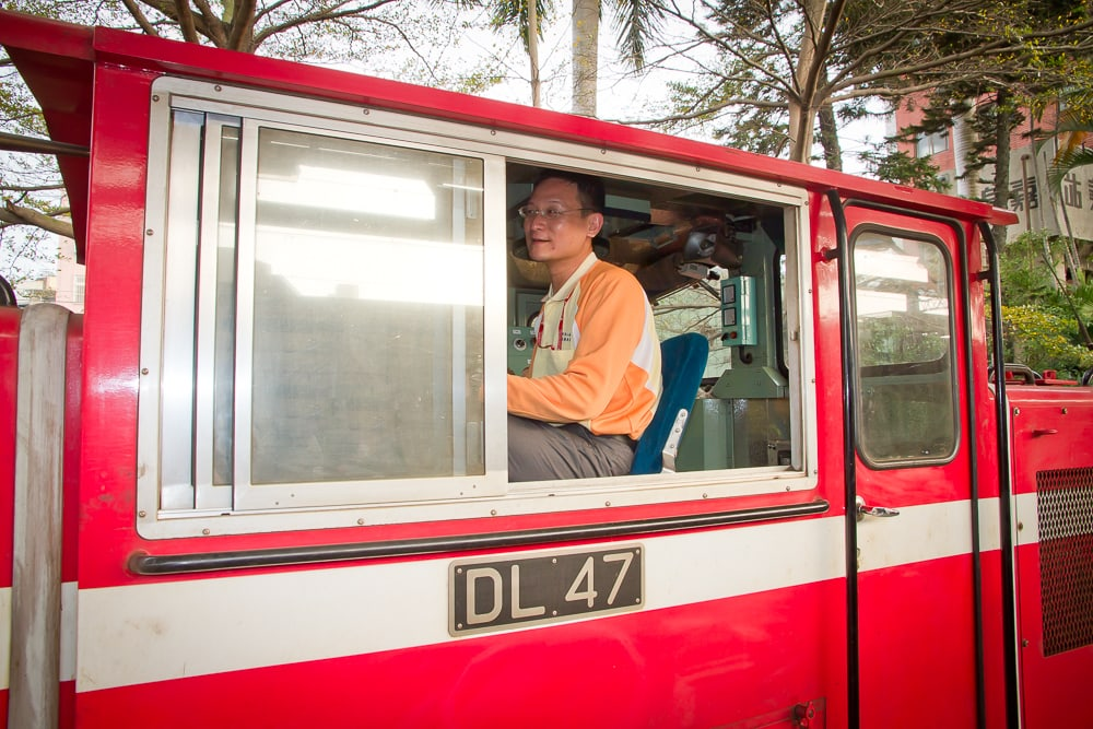 Driver on the Alishan Forest Railway, heading from Chiayi to Alishan