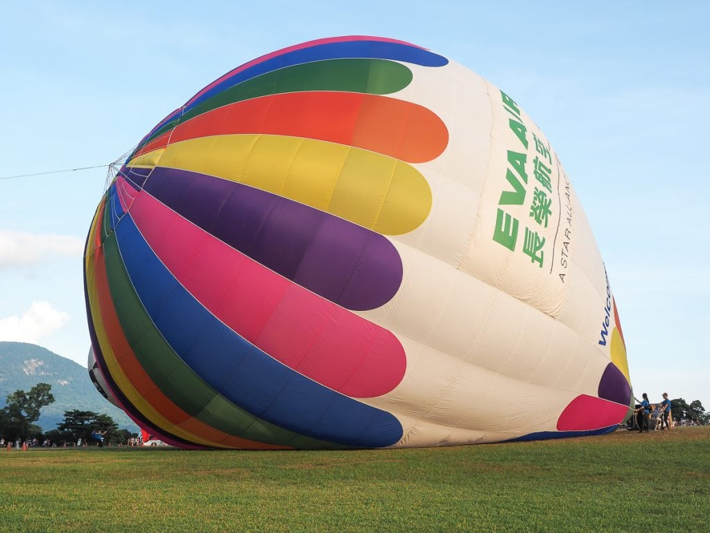 Blowing up hot air balloons in Luye, Taiwan