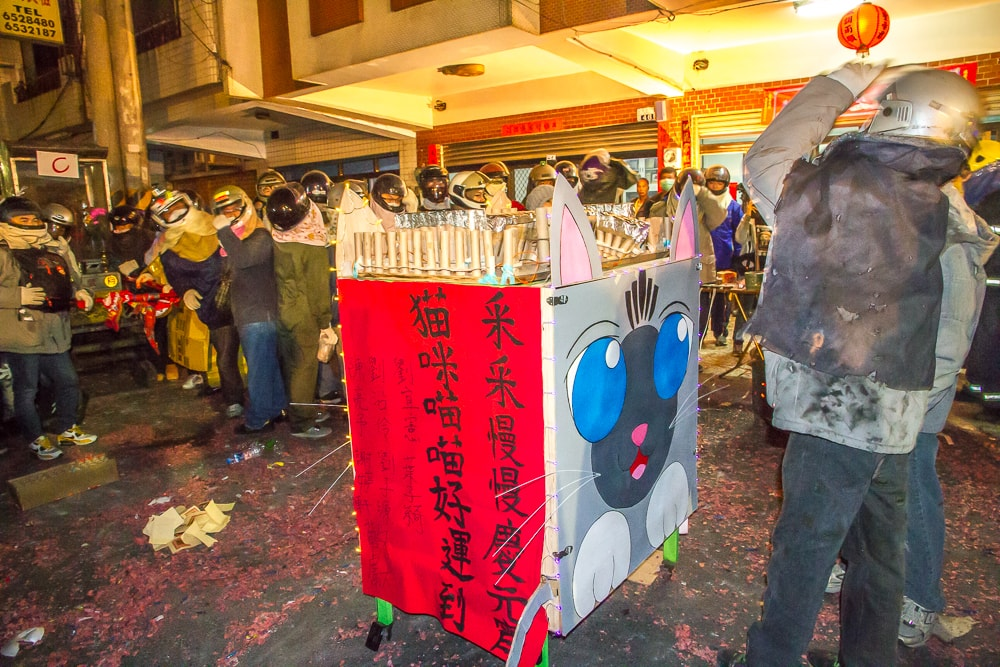 Tower of rockets at Yanshui Rockets Festival that looks like a cat