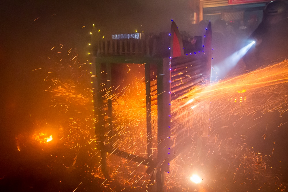 Tower of rockets at Yanshui Beehive Fireworks Festival that looks like a cat