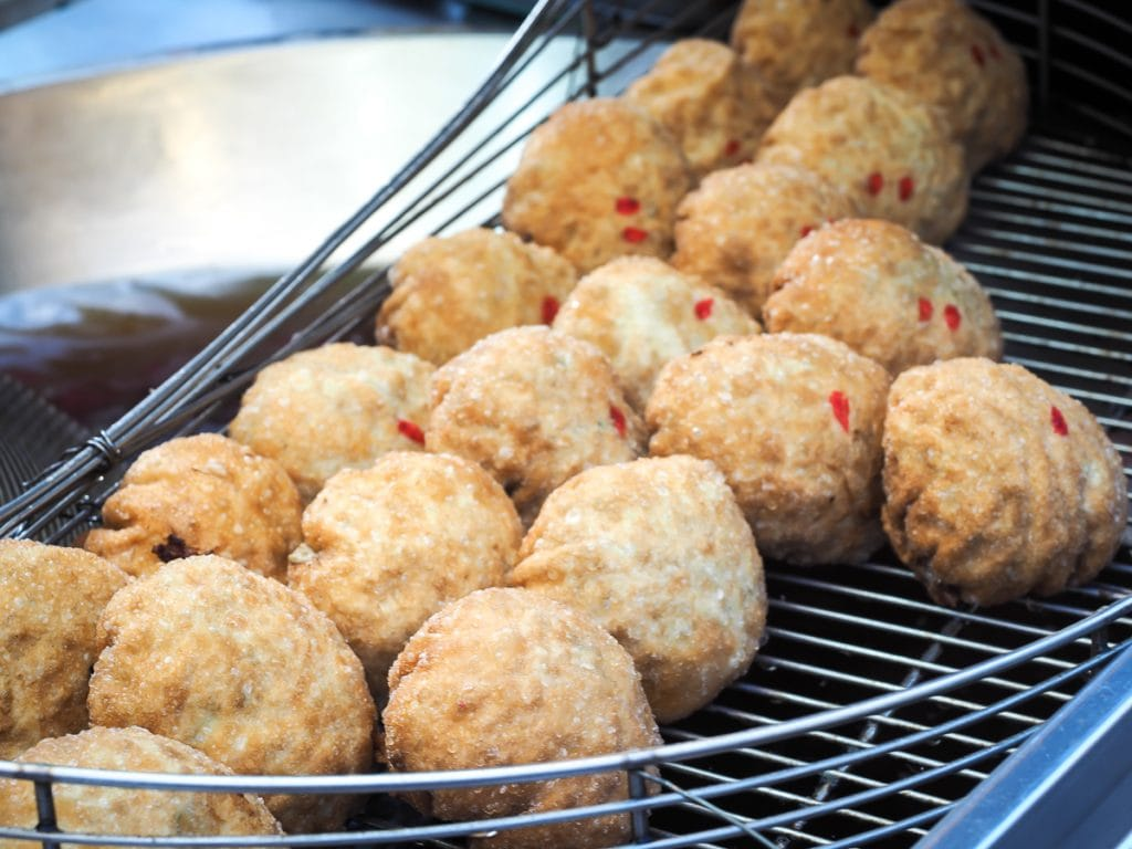 Deep fried oyster balls at Ningxia Night Market