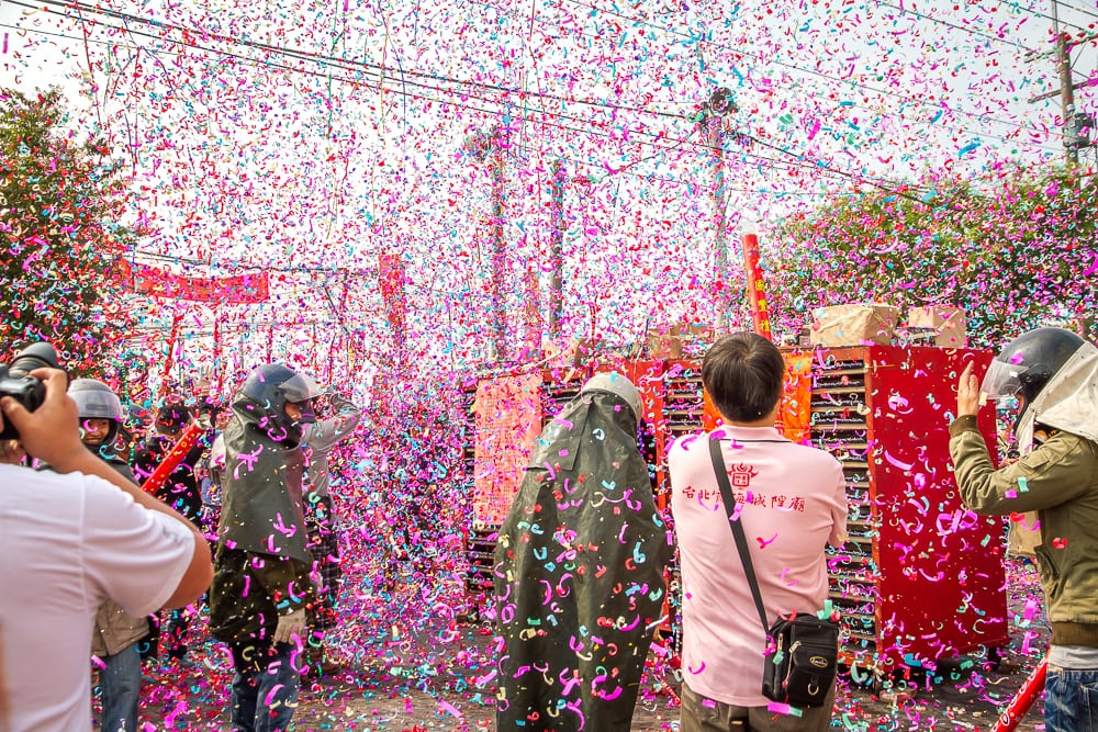 Confetti explosion at Yanshui Fireworks Festival