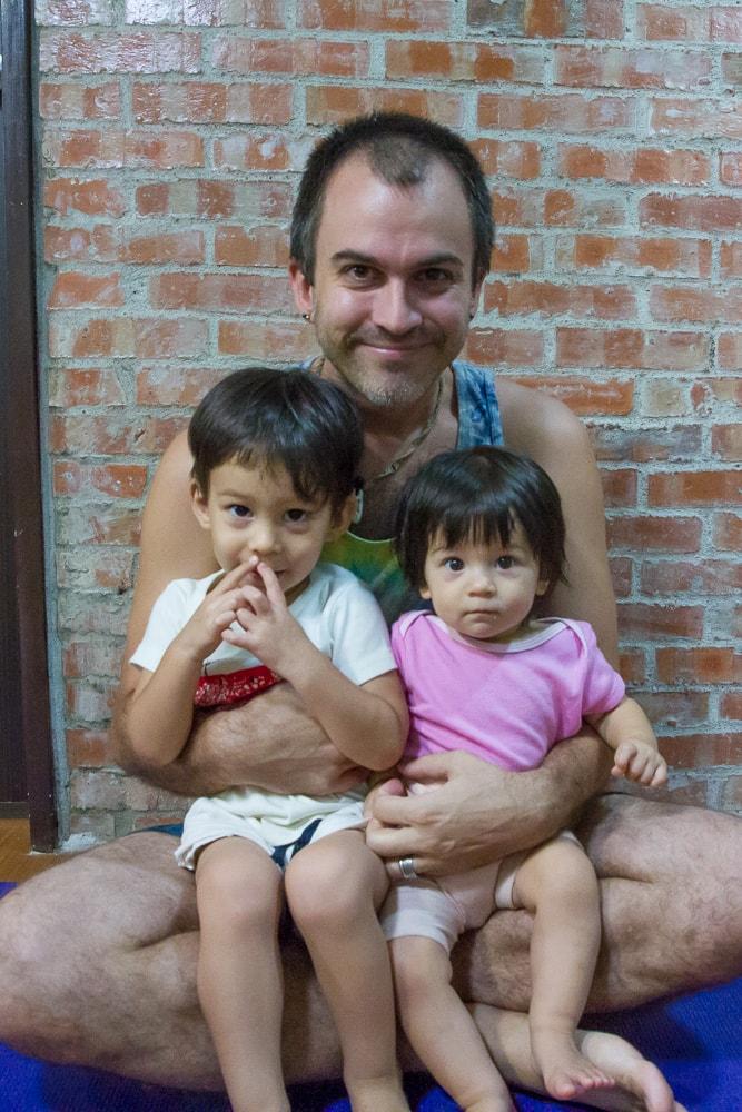doing yoga with my kids