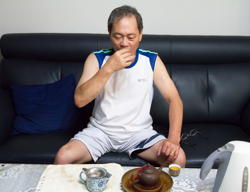 Taiwanese man drinking tea