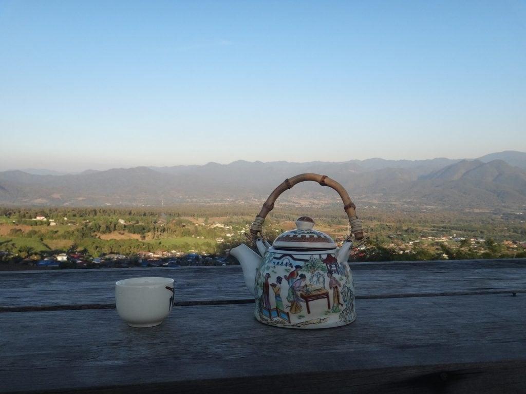 Enjoying tea while traveling in Thailand.