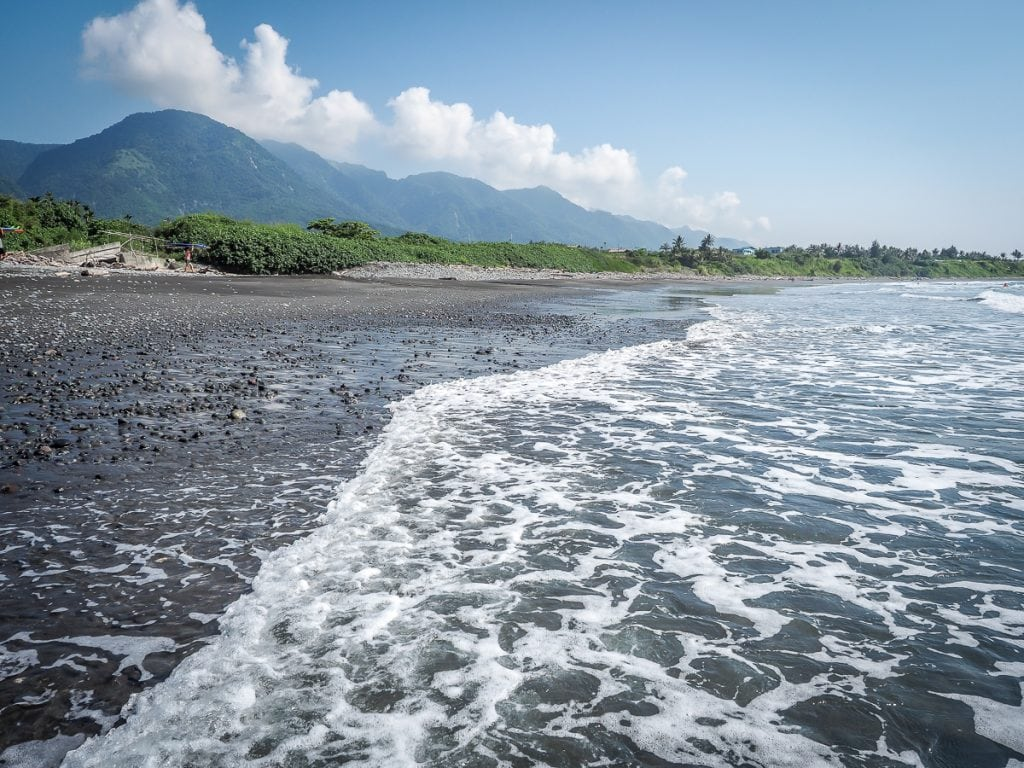 Incredible black sand beach at Dulan, Taitung, Taiwan