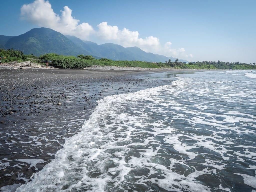 Incredible black sand beach at Dulan, Taitung, Taiwan
