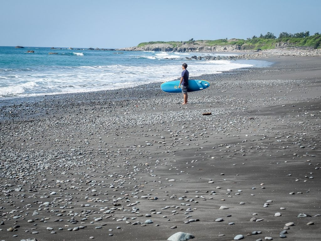 Surfing at Dulan Beach, Taitung County, Taiwan
