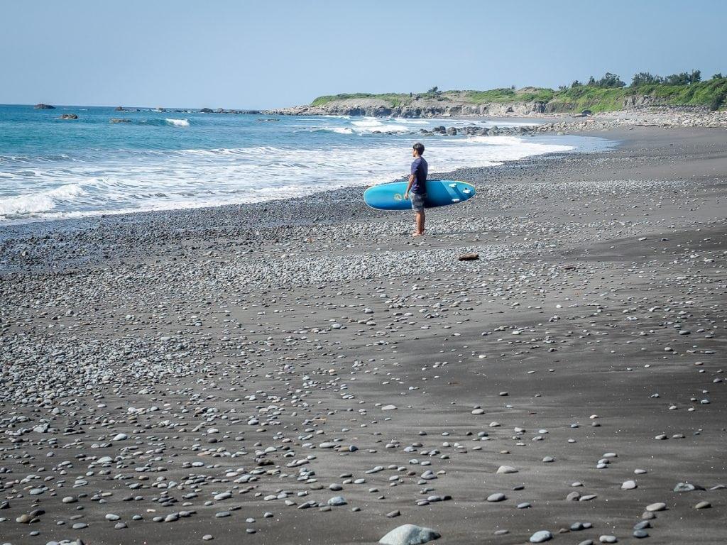 Surfing at Dulan Beach, Taitung County, Taiwan