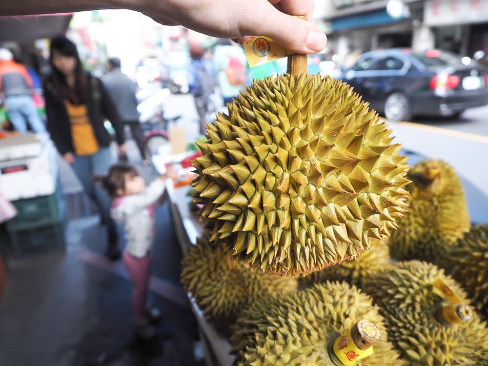 Durians for sale in a street market on Myanmar Street Taiwan