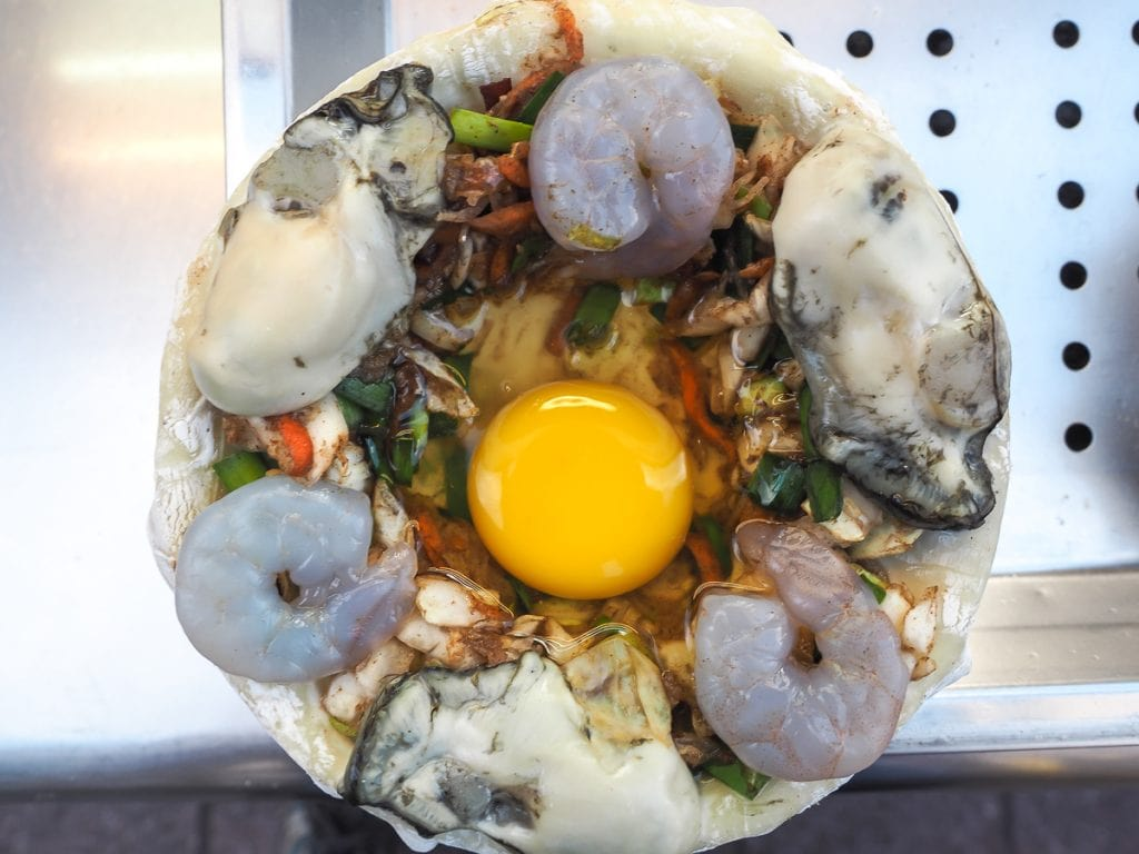 An oyster, shrimp and egg ball, Ningxia Night Market