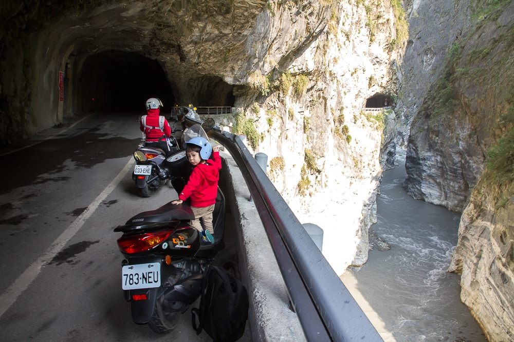 Riding a scooter in Taroko Gorge Taiwan with toddlers