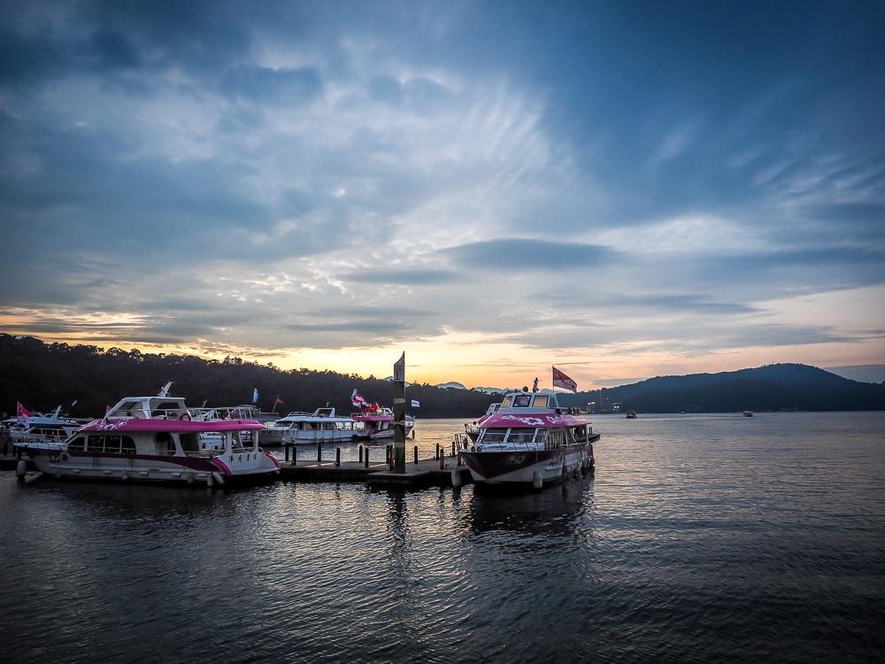 Boats at sunset on Sun Moon Lake