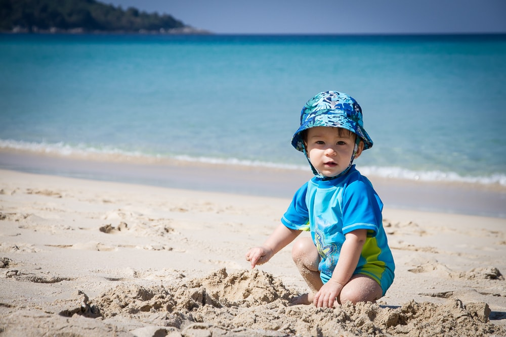 My one-year-old son on Kata Noi, Phuket