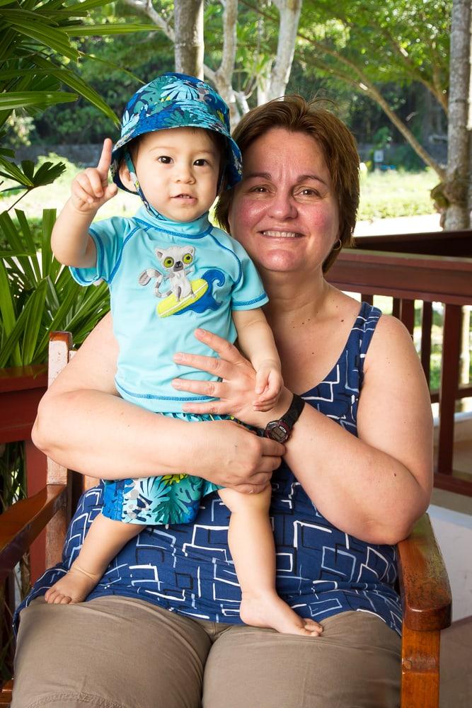 My mother and son at Kata Noi Resort, Phuket