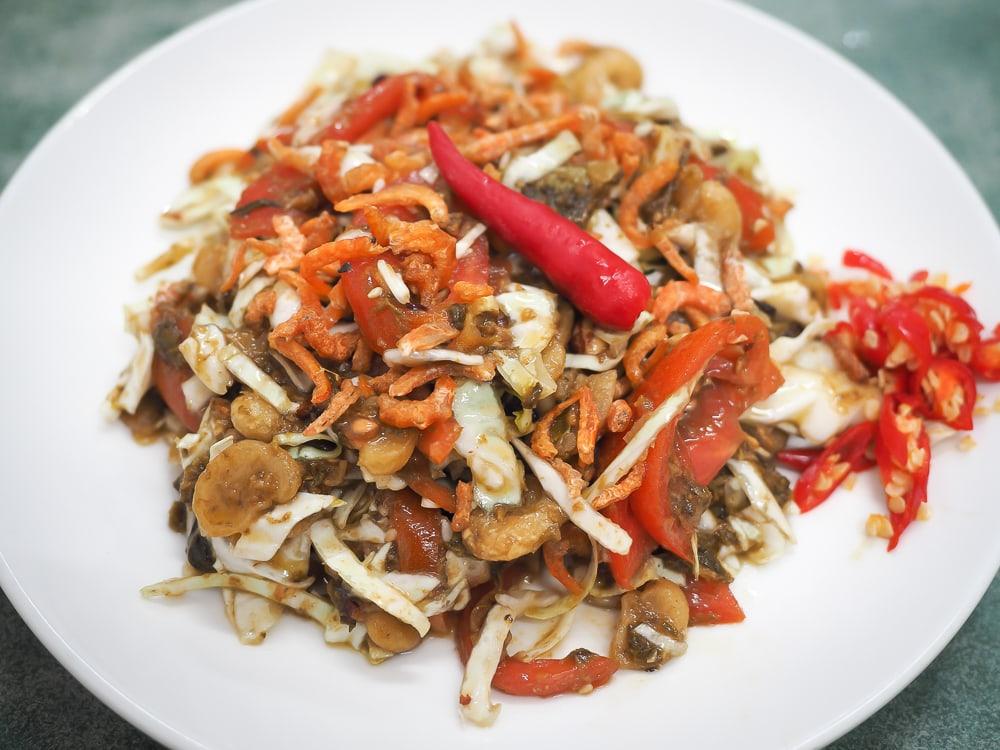 Burmese Lahpet thoke (fermented tea leaf salad) at Baogelai restaurant, Little Burma Taipei