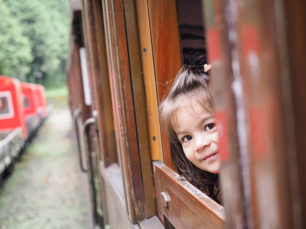 My daughte Lavender on the Alishan Forest Railway