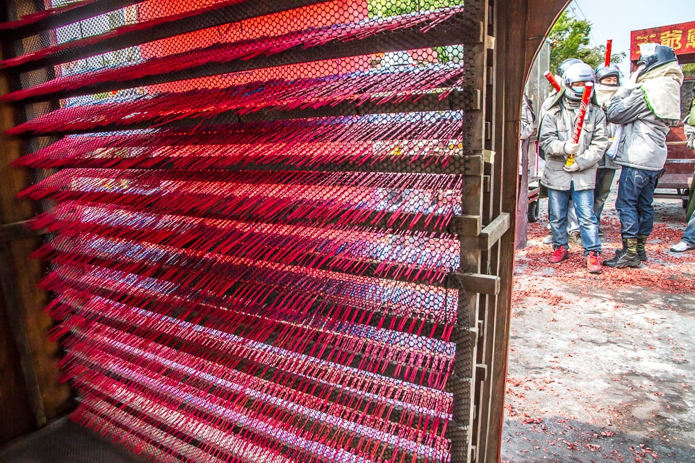 Looking through a wall of rockets at Fireworks Festival in Yanshui