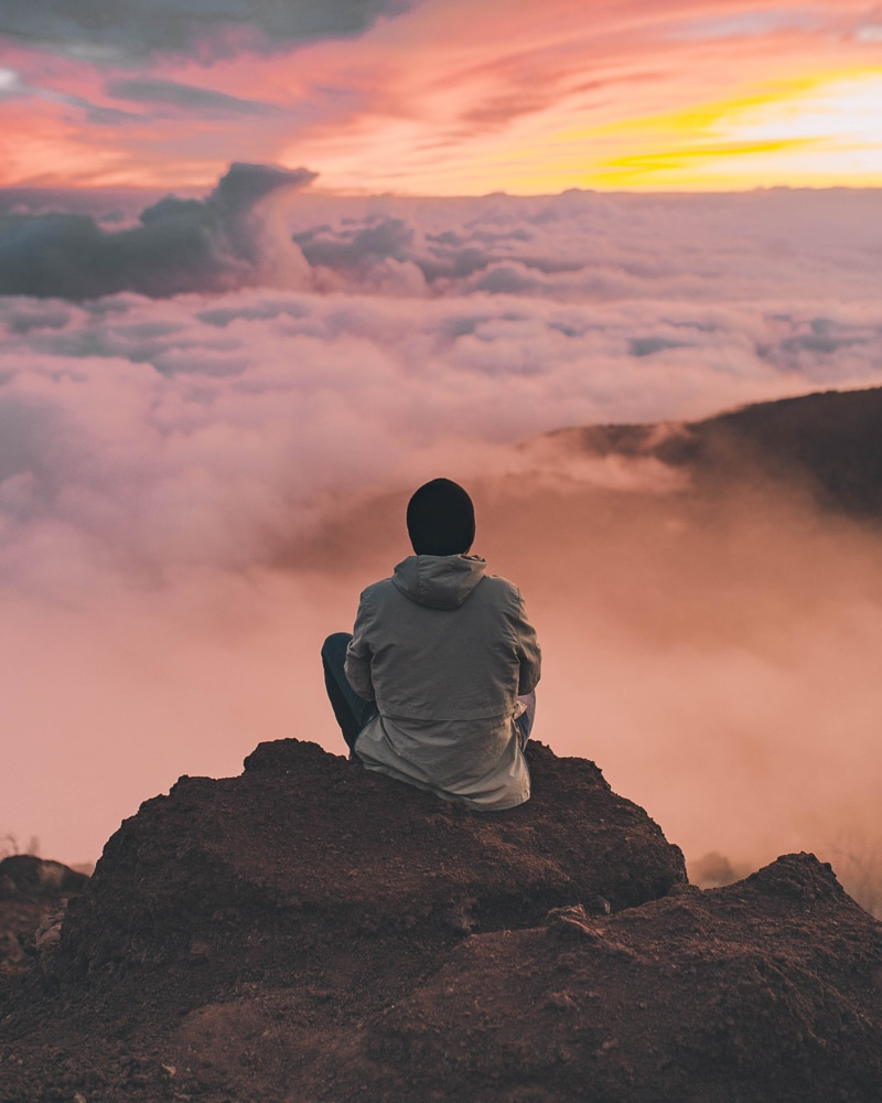 Meditating over clouds