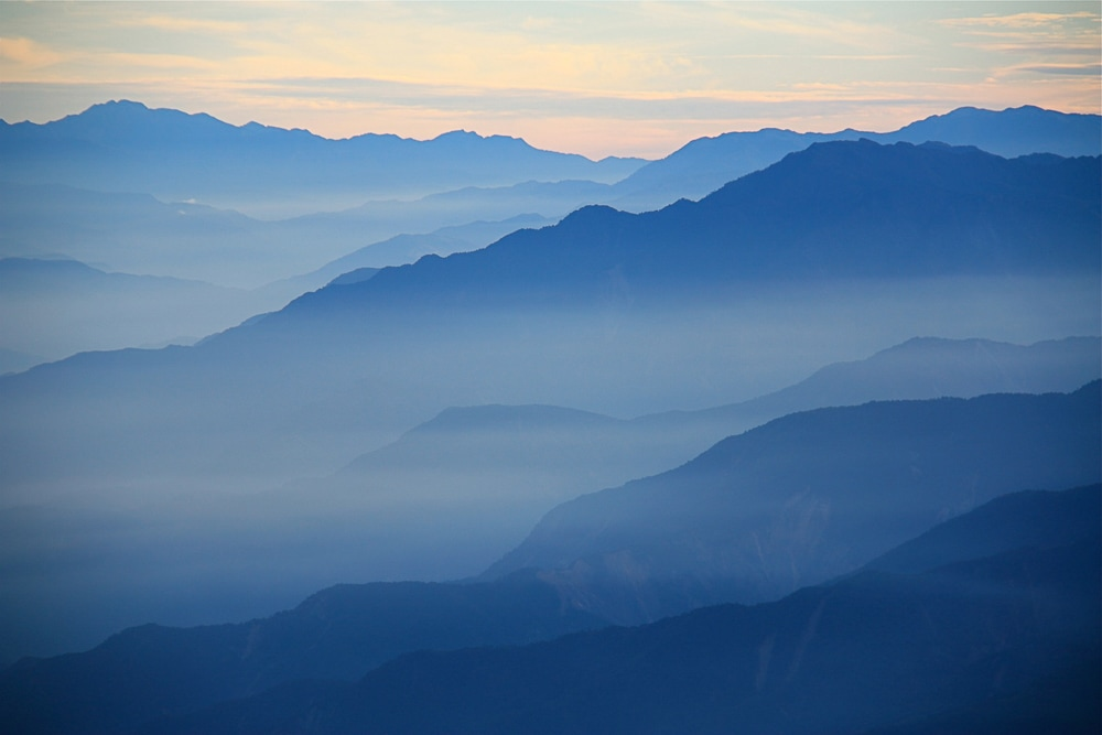 Misty mountains at Alishan, Taiwan