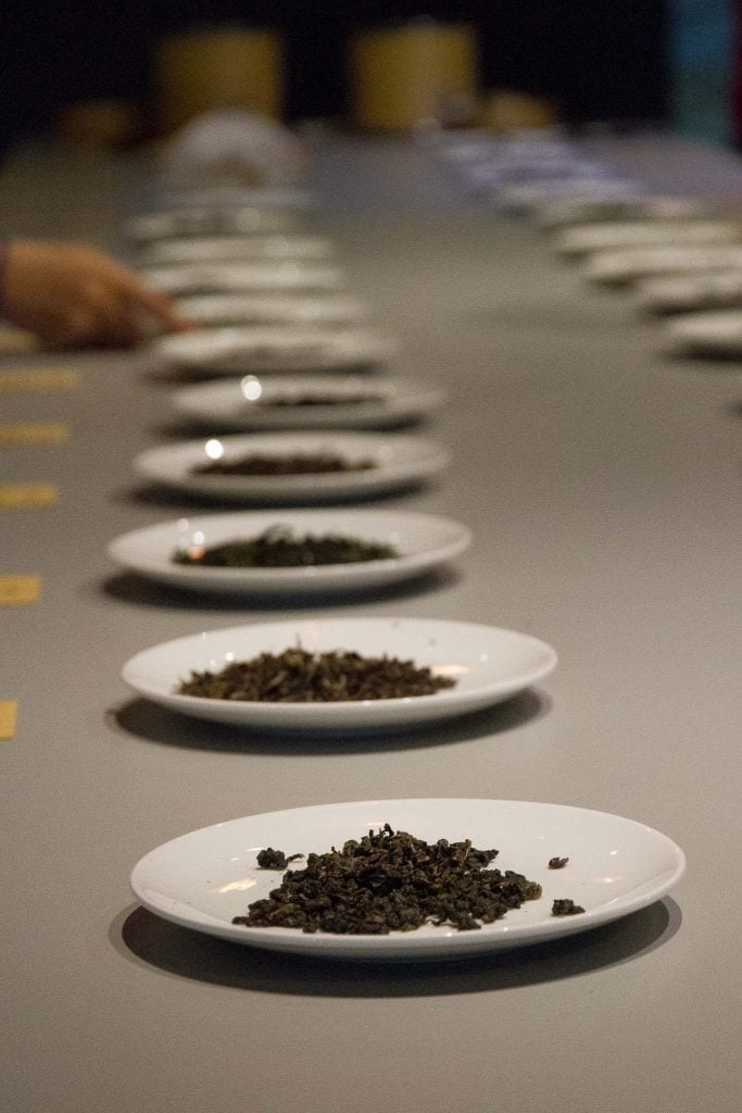 Varieties of tea on display at the Taiwan Tea Museum in Pinglin, Taiwan